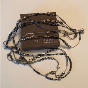 Silpada Dewdrops Hematite glass 3 strand Necklace